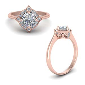 Round Cut Moissanite Vintage Rings