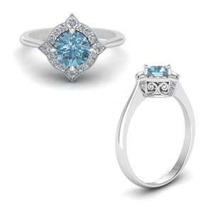 Delicate Aquamarine Halo Engagement Ring