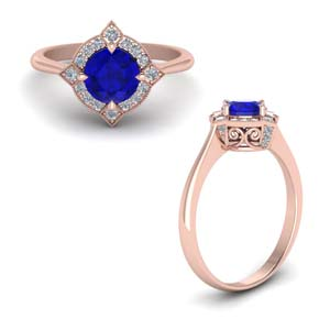 Sapphire Vintage Halo Engagement Ring