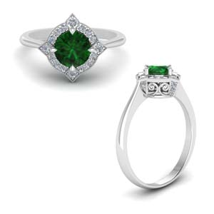 Emerald Halo Delicate Ring