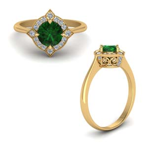Diamond Halo Round Emerald Ring
