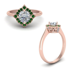 Emerald Halo Filigree Ring
