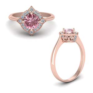 Delicate Vintage Morganite Halo Engagement Ring