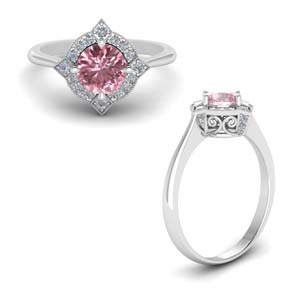 18K White Gold Pink Morganite Ring