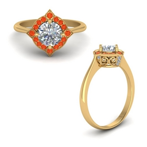 Yellow Gold Orange Topaz Ring
