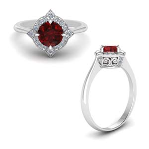Platinum Ruby Halo Engagement Ring