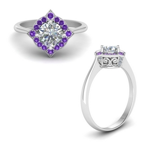 Vintage Halo Ring With Purple Topaz