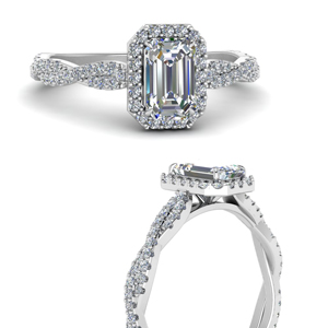 Vine Emerald Cut Halo Ring