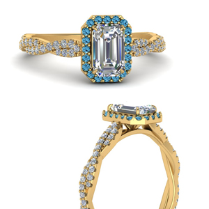 Emerald Cut Topaz Halo Rings