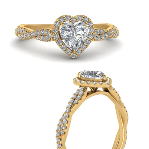 Twisted Heart Diamond Halo Ring
