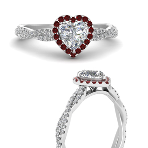 Twisted Heart Halo Ruby Ring