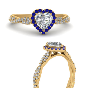 Twisted Heart Shaped Halo Ring