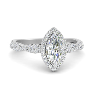 Twisted Marquise Diamond Halo Ring