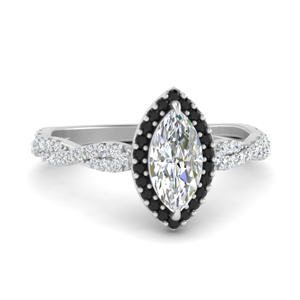 Twisted Black Diamond Halo Ring