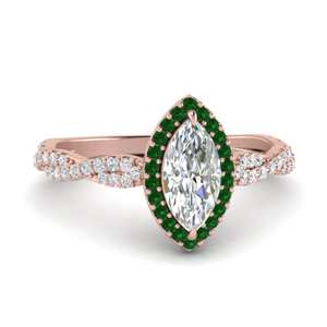 Twisted Emerald Halo Ring