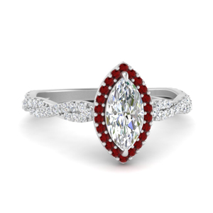 Platinum Ruby Twisted Ring