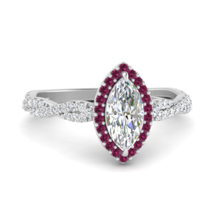 Pink Sapphire Wedding Ring With Halo