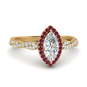 Marquise Diamond Halo Braided Ring