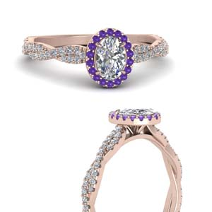 Twisted Purple Topaz Halo Ring