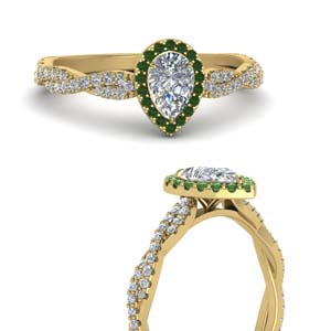 Emerald Infinity Twist Halo Ring