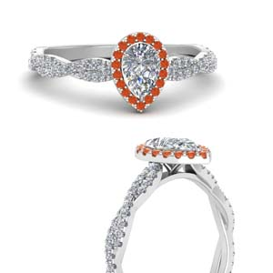 Orange Topaz Twisted Halo Ring