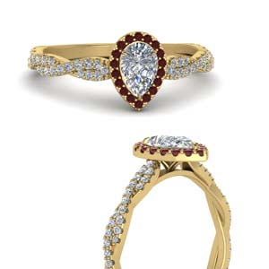 Pear Halo Diamond Ring With Ruby