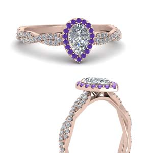 Pear Diamond Ring With Purple Topaz