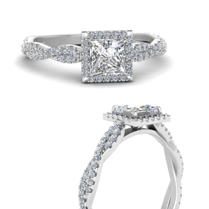 Twisted Princess Halo Diamond Ring
