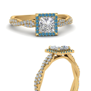 Twisted Halo Ring With Blue Topaz