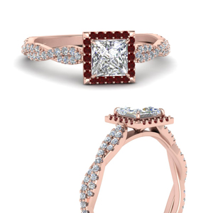 Twisted Princess Cut Halo Ruby Ring
