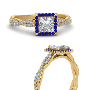 Twisted Halo Ring With Sapphire