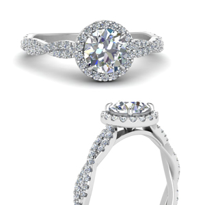 Vine Halo Round Diamond Ring