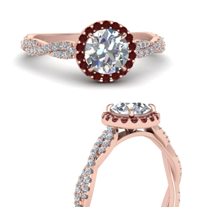 Classic Vine Halo Ruby Ring