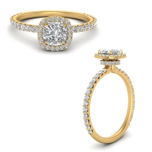 Yellow Gold Under Halo Engagement Ring