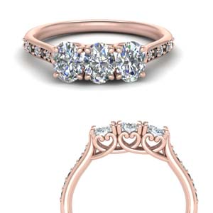 Rose Gold 3 Stone Wedding Band