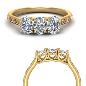 classic prong oval diamond wedding band with orange sapphire in 14K yellow gold FD123332OVGSAORANGLE3 NL YG