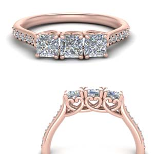Three Stone Princess Cut Promise Band