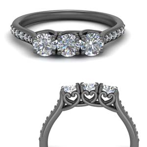 3 Stone Pave Diamond Band