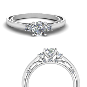 U Prong Accent Diamond Ring