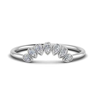 Teardrop Curved Diamond Wedding Band