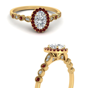 Gold Oval Shaped Halo Engagement Rings
