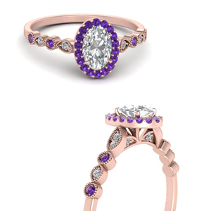 Purple Topaz Halo Wedding Ring