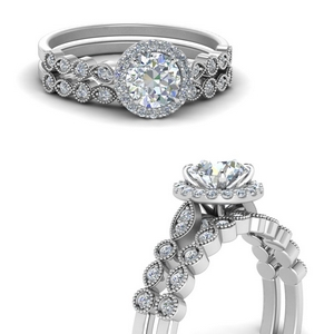 Man Made Diamond Halo Bridal Set