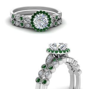 Emerald Milgrain Wedding Ring Set