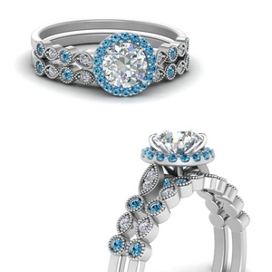 Platinum Topaz Bridal Ring Set