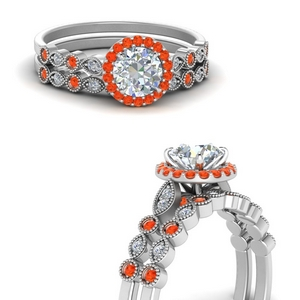 Art Deco Halo Orange Topaz Ring Set