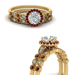 Round Halo Bridal Set With Ruby