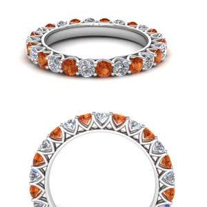 White Gold Orange Sapphire Band