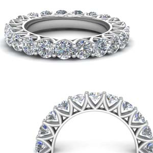 Round Diamond Band 14K White Gold
