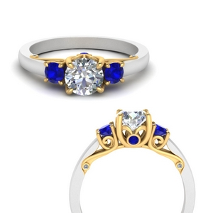 Three Stone Sapphire Wedding Rings